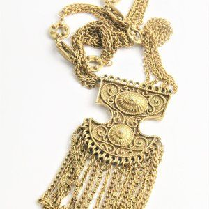 Jewelry - VINTAGE BOHO CHIC CHAIN DANGLE STATEMENT NECKLACE